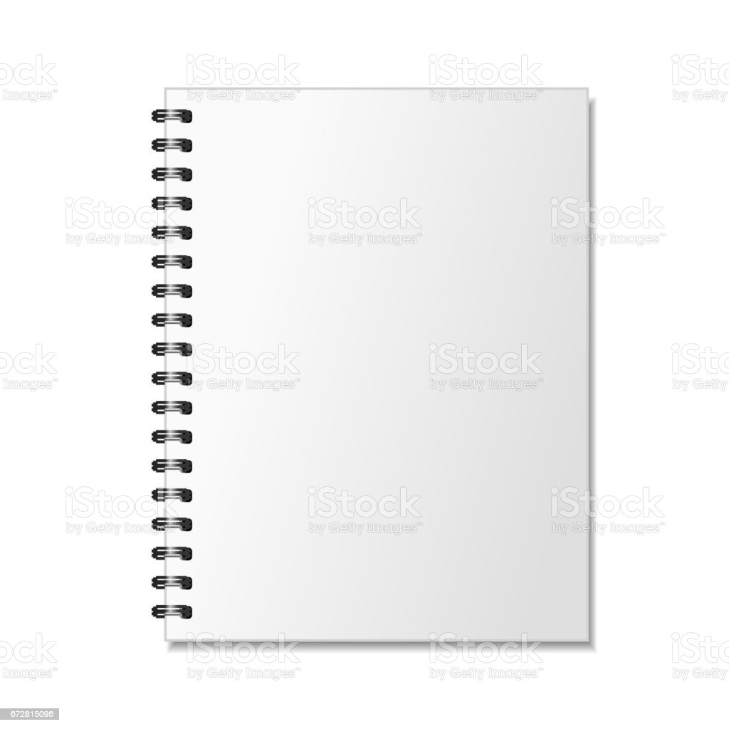 Blank realistic spiral notepad mockup for branding on white vector art illustration
