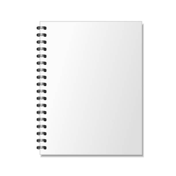blank realistic spiral notepad mockup for branding on white - composition notebook cover stock illustrations, clip art, cartoons, & icons