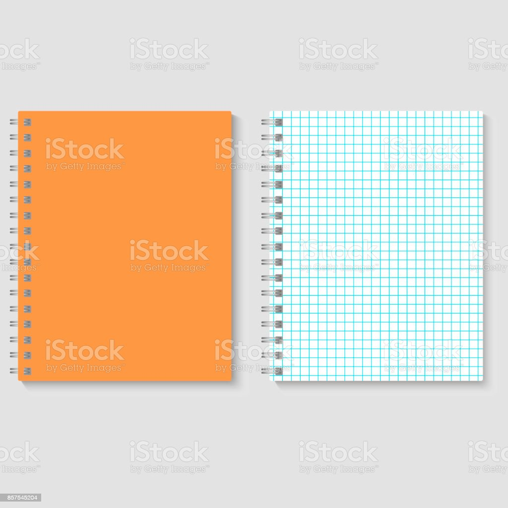 Blank realistic spiral squared notebook mockup. Vector illustration vector art illustration