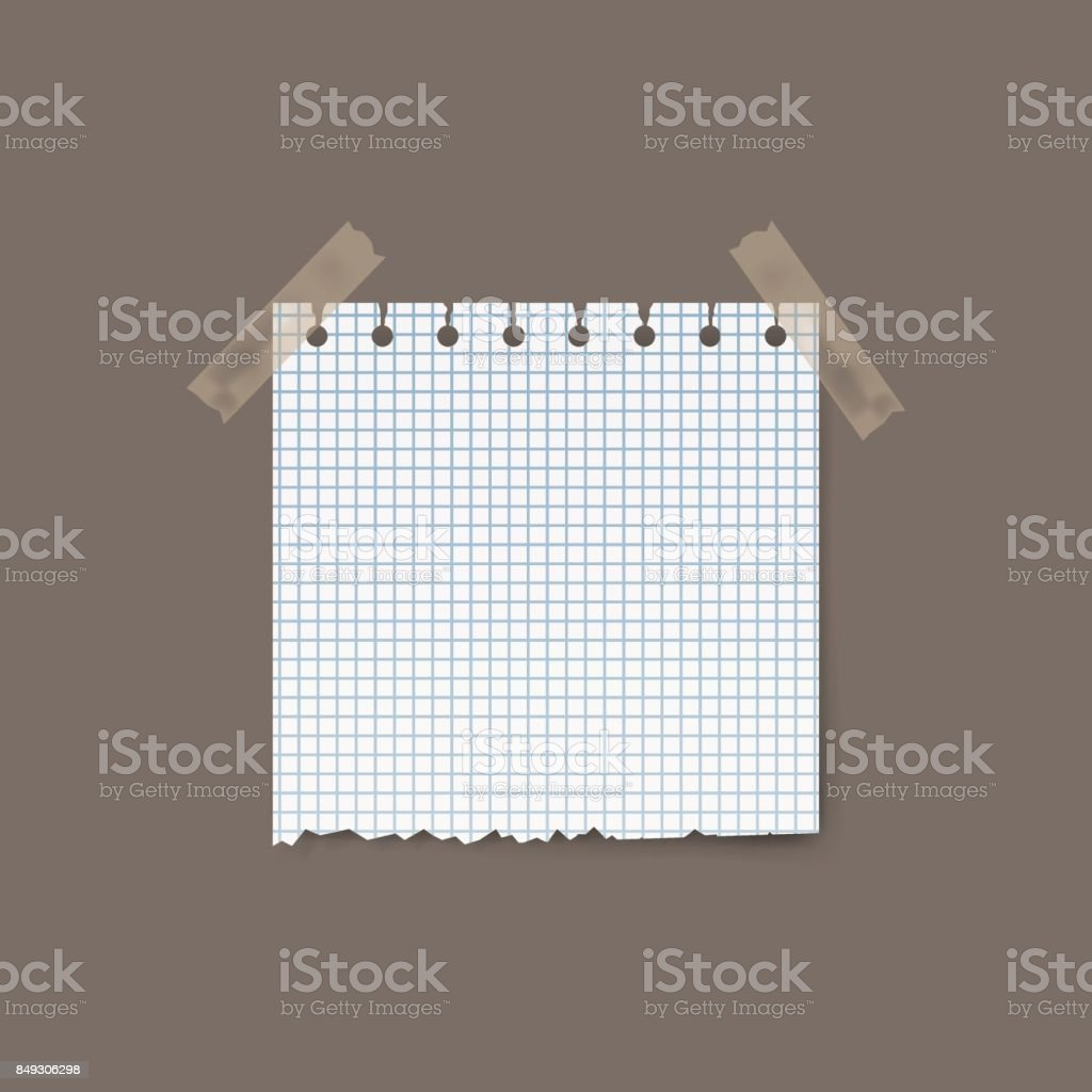 Blank realistic squared torn paper piece isolated on background. Vector illustration. vector art illustration