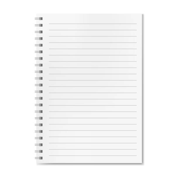 blank realistic vector lined notebook with shadow - lined paper stock illustrations