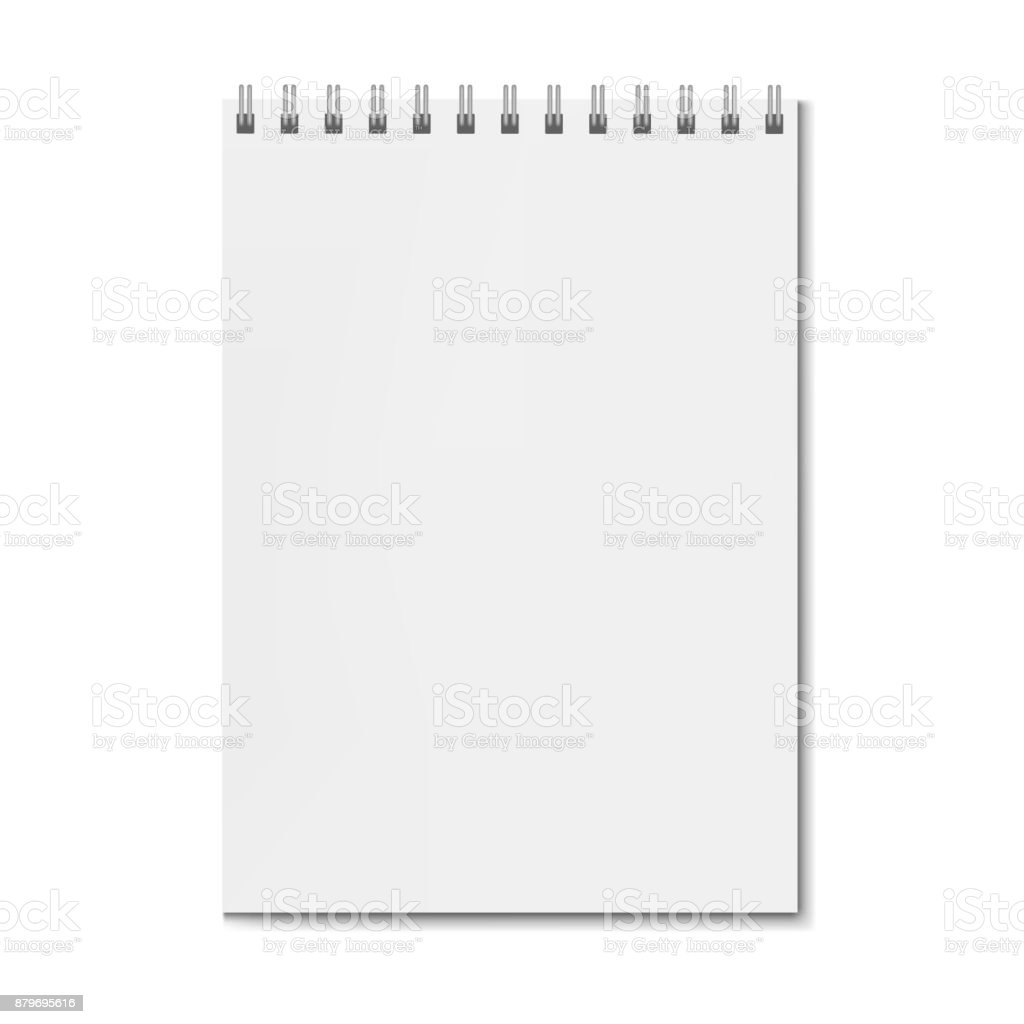 Blank realistic vertical rectangular notebook mockup vector art illustration