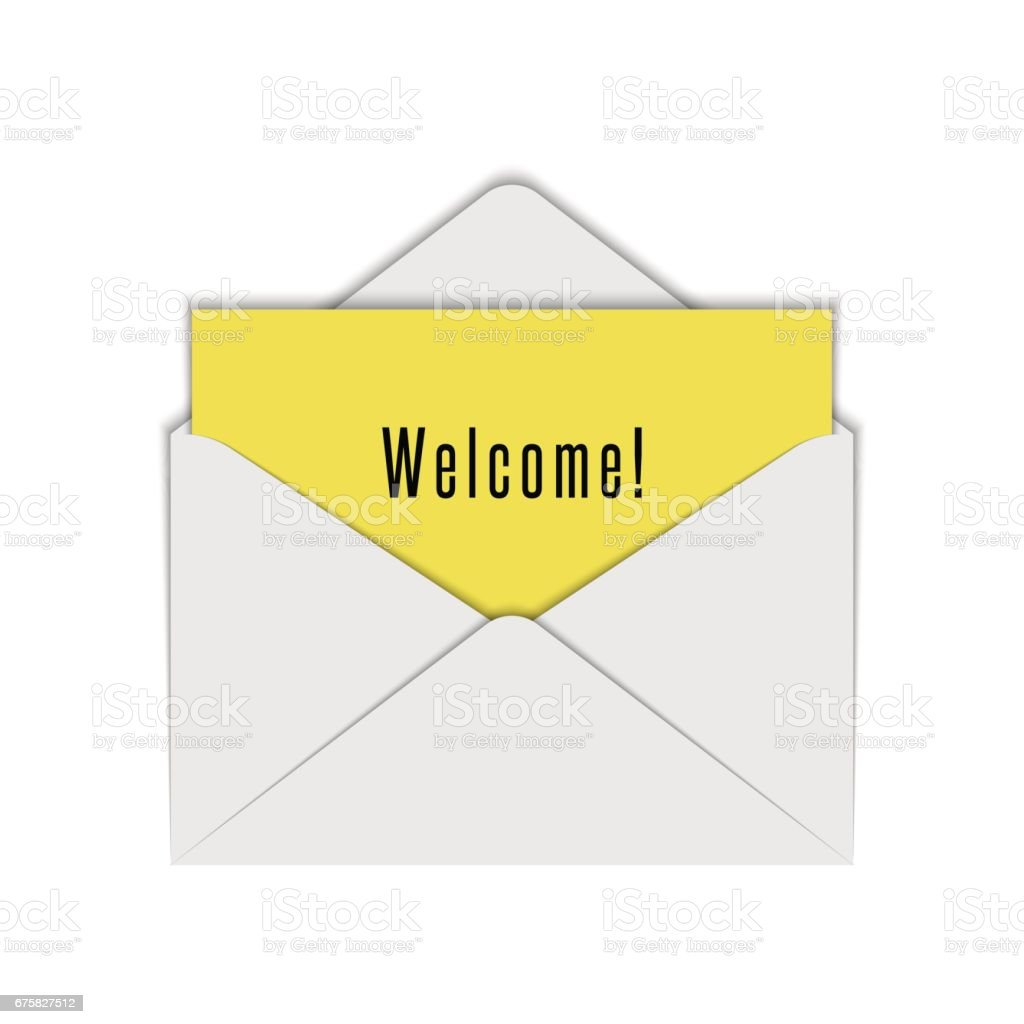 Blank Realistic White Envelope Mockup Of Open With Yellow Sheet