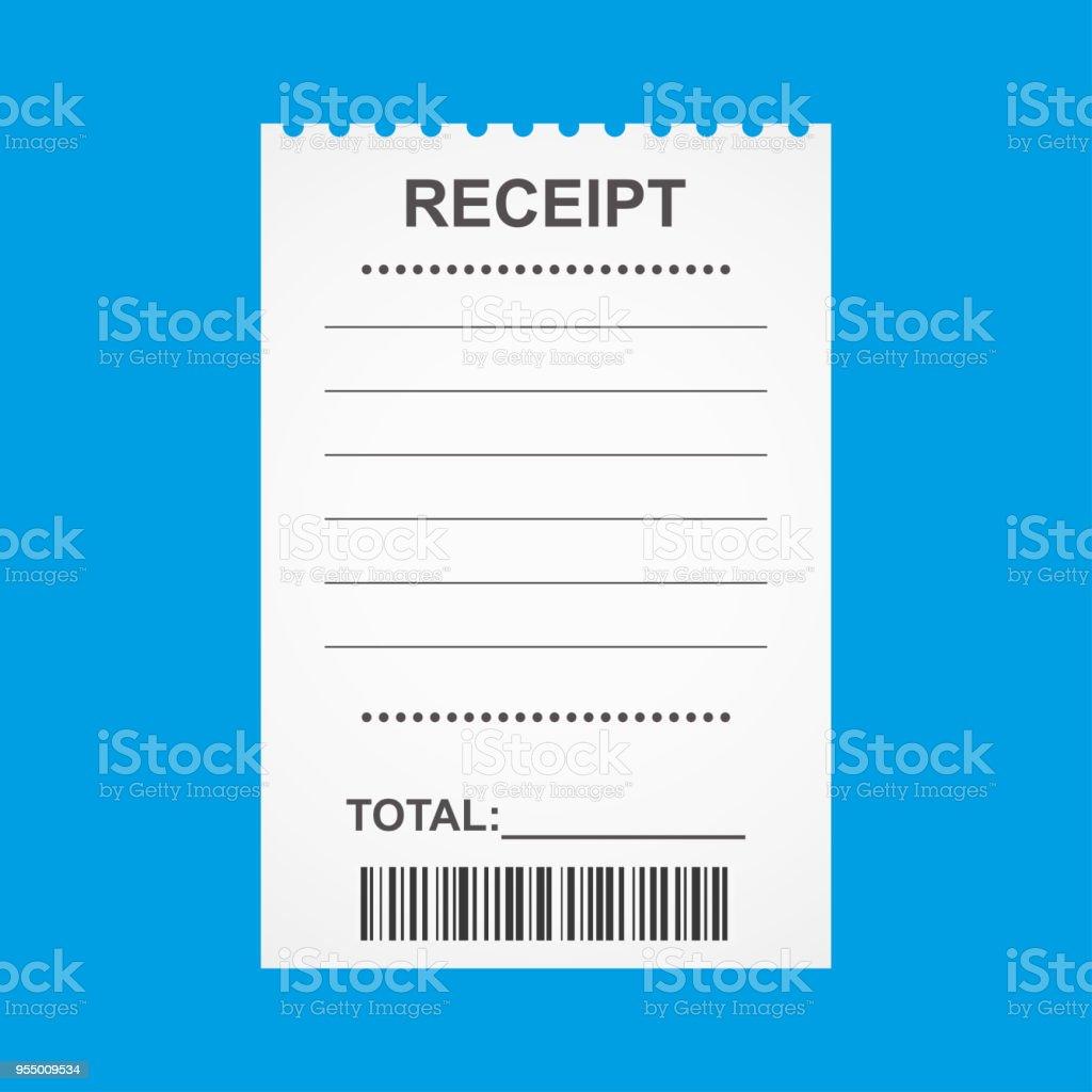 ilustración de recibo en blanco aislado sobre fondo azul y más banco