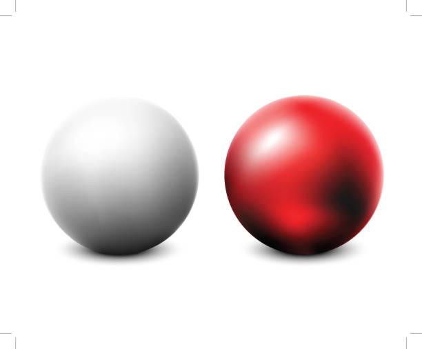 illustrazioni stock, clip art, cartoni animati e icone di tendenza di palla bianca e rossa bianca - sfera lucida