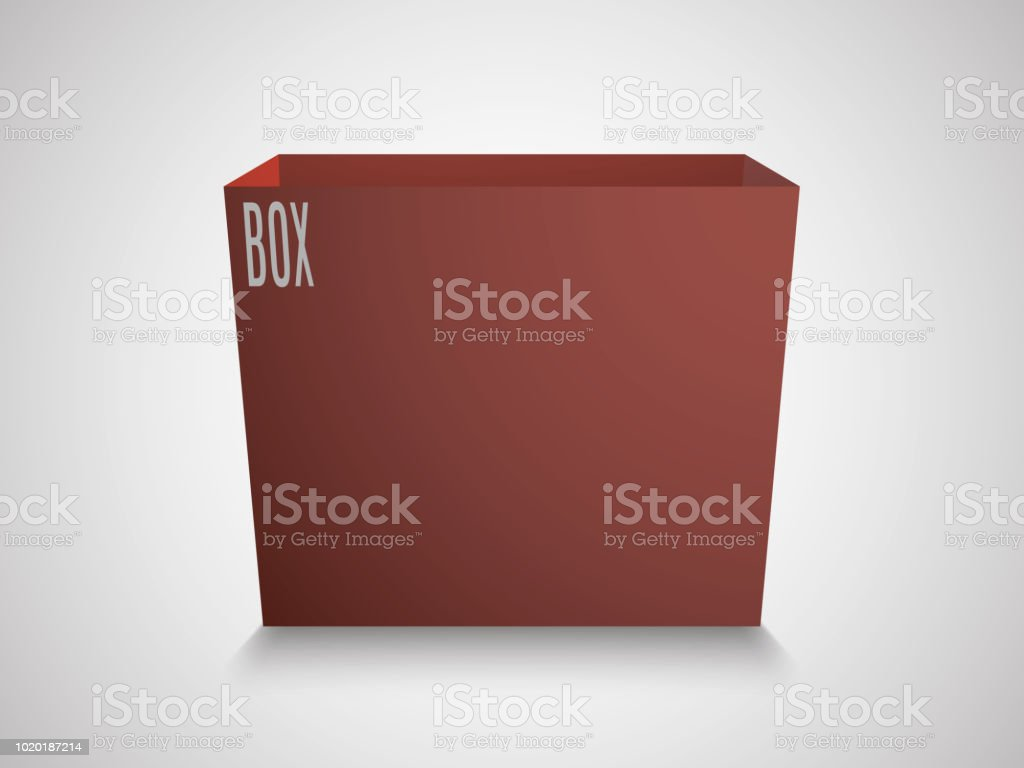 Blank Red Cube On White Background 3d Box Template With An