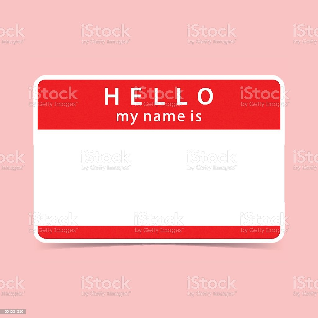 Blank red name tag sticker HELLO vector art illustration