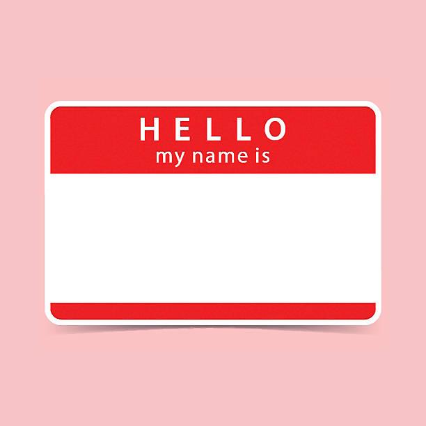 Blank red name tag sticker HELLO – Vektorgrafik