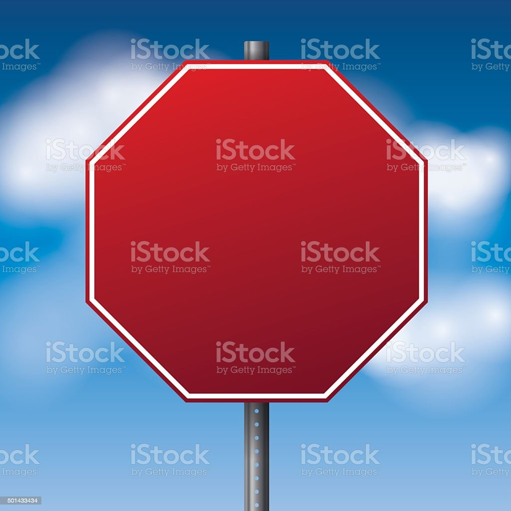 Blank Red Road Stop Sign Illustration Stock Vector Art & More Images