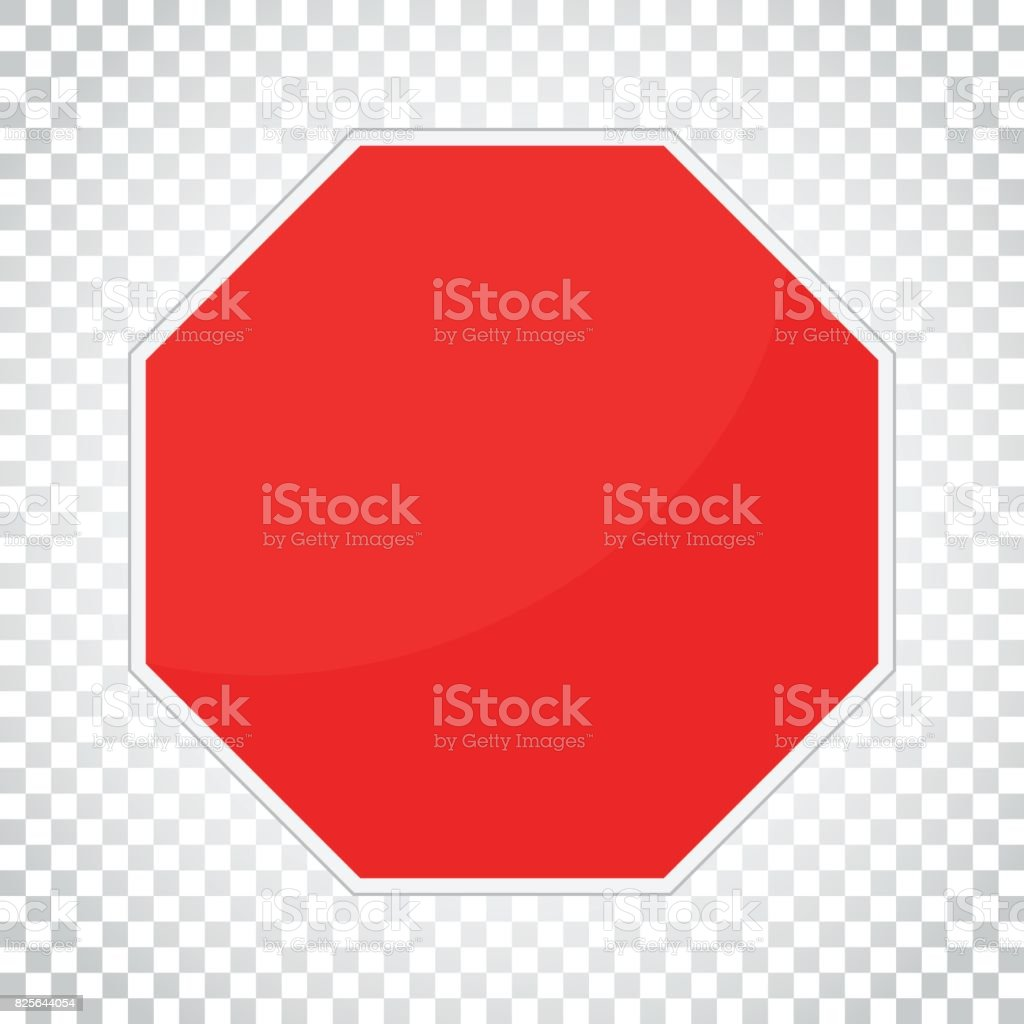 Blank red stop sign vector icon. Empty danger symbol vector illustration. Simple business concept pictogram on isolated background. vector art illustration