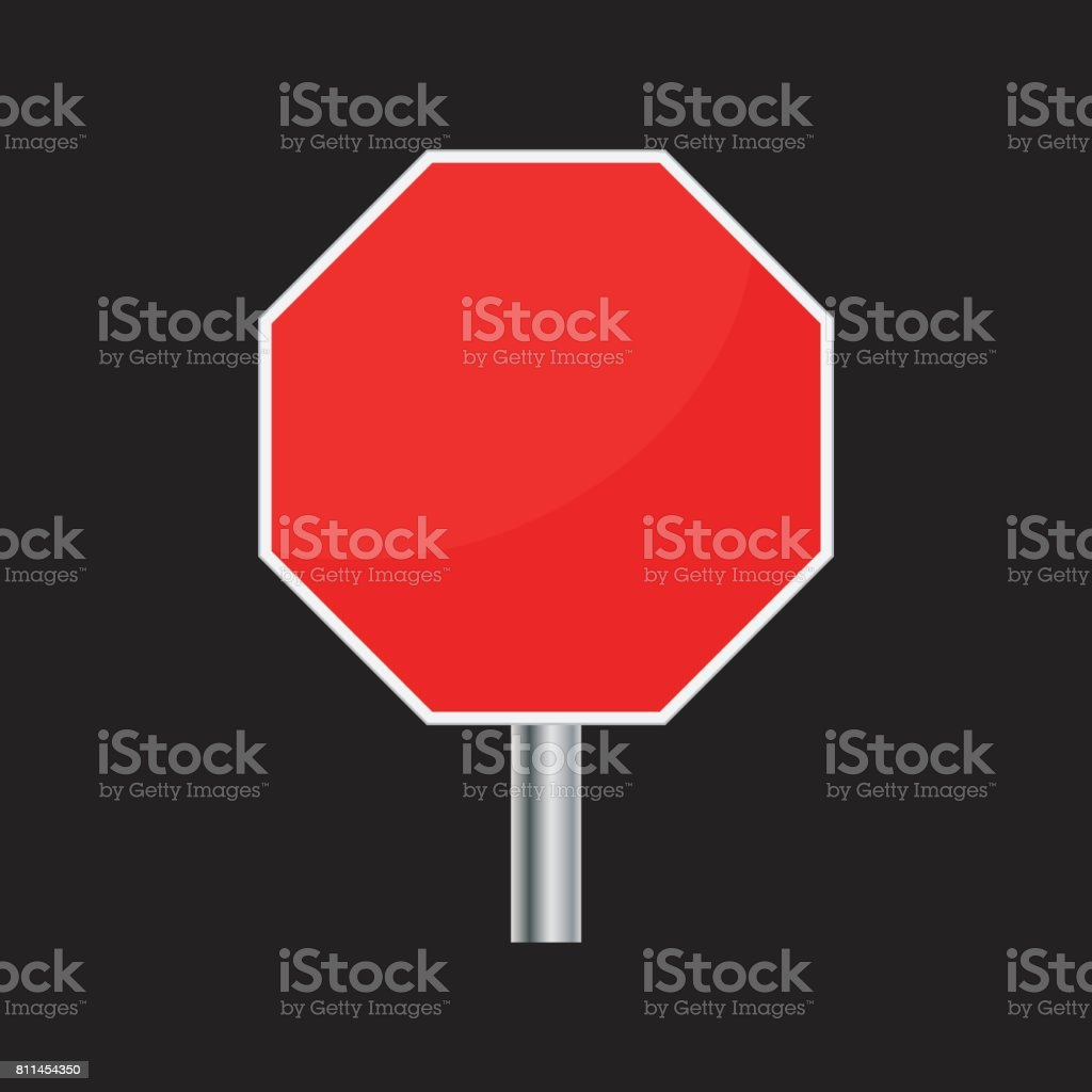 Blank red stop sign vector icon. Empty danger symbol vector illustration. vector art illustration