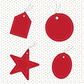 blank red tags set vector illustration image with different shapes