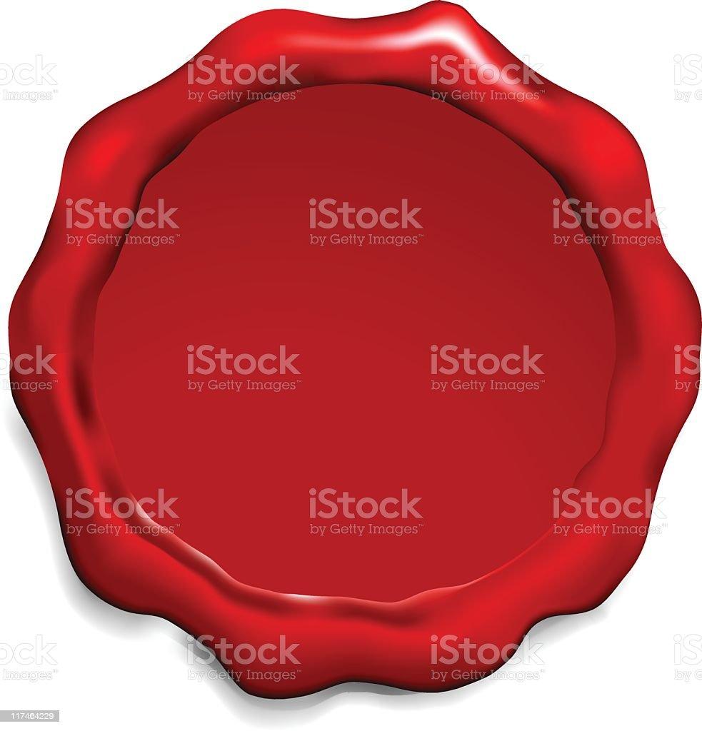 Blank red wax seal vector art illustration