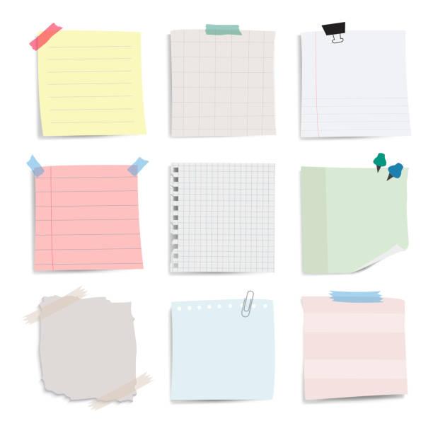 空白のメモ用紙ノート ベクトルを設定 - メモ点のイラスト素材/クリップアート素材/マンガ素材/アイコン素材