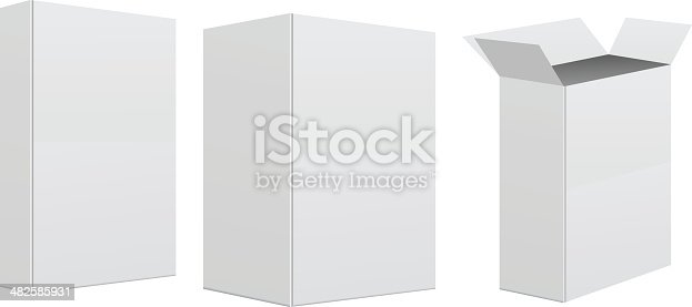 Blank retail box on white background.