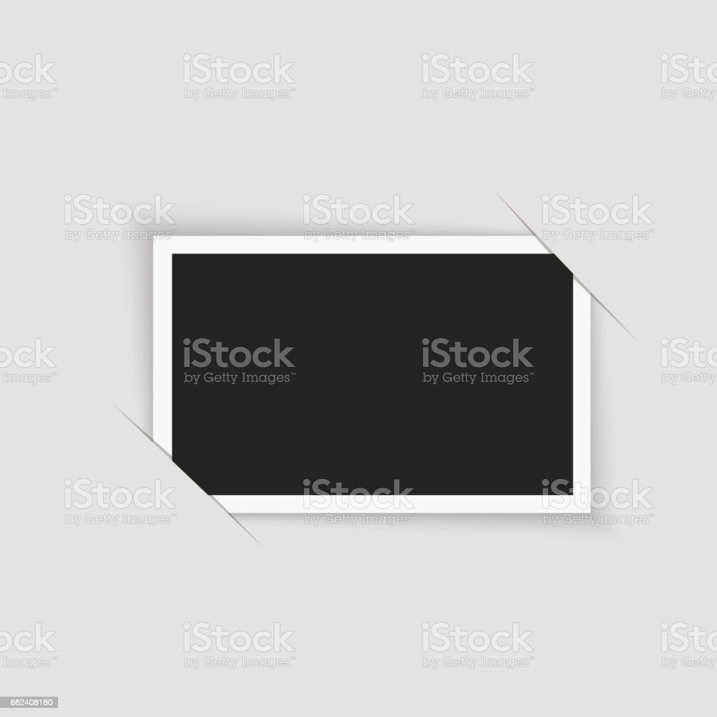 Blank retro photo frame over white. Vector illustration. vector art illustration