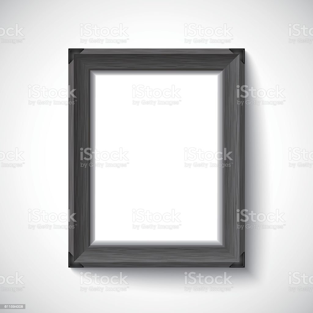 Blank retro wood frame vector art illustration