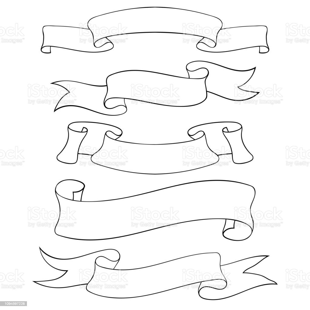 Blank Ribbon Banners Outline Doodles Stock Illustration Download Image Now Istock