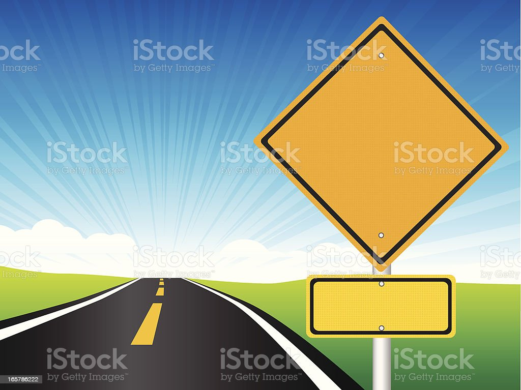 Blank road sign and highway graphic royalty-free stock vector art
