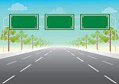 istock Blank road sign on highway. 592682064