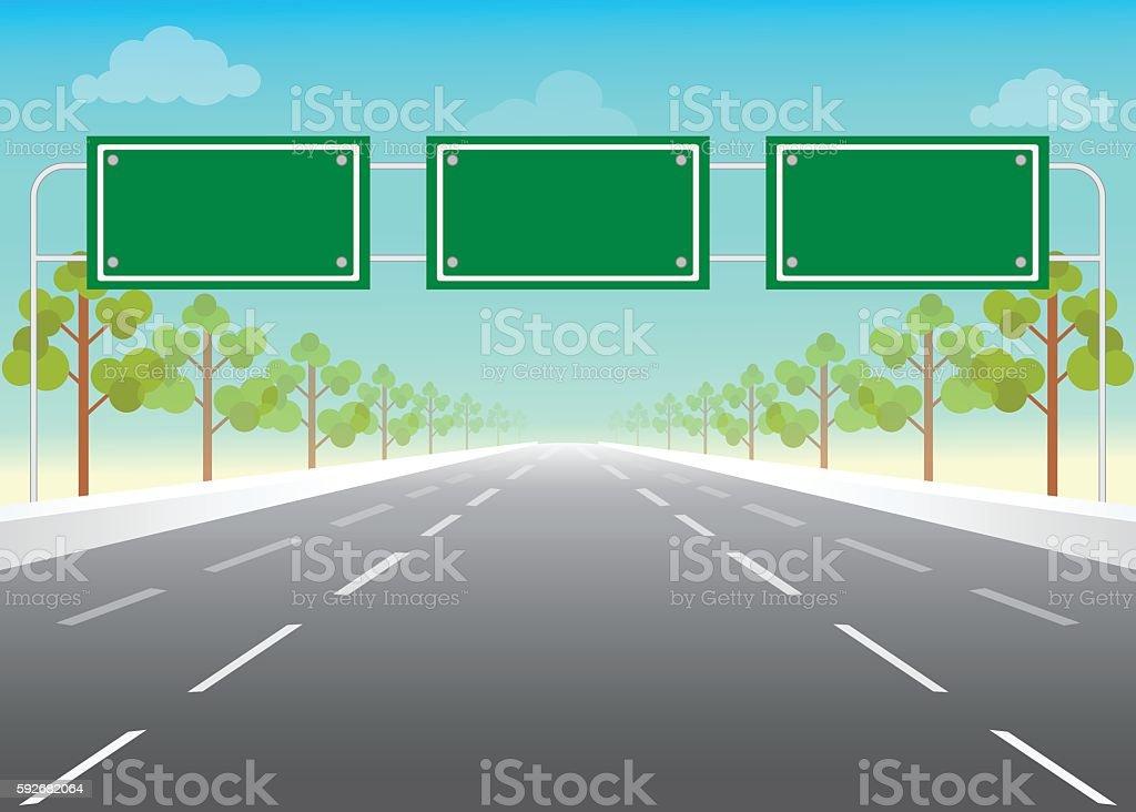 Blank road sign on highway. vector art illustration