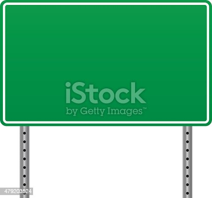 istock Blank road sign 479203524