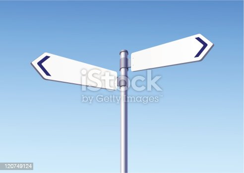 istock Blank road signs on blue sky background 120749124