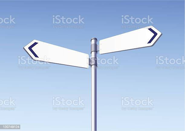 Blank Road Signs On Blue Sky Background-vektorgrafik och fler bilder på Affischera