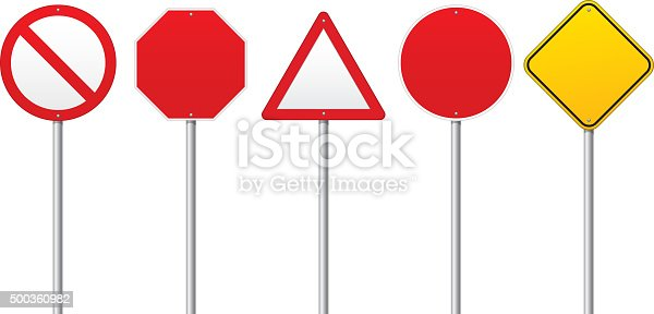 istock Blank Road signs 500360982