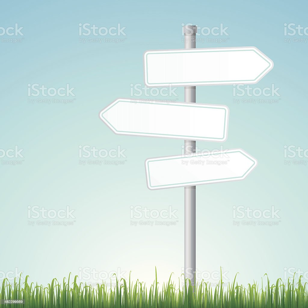 Blank road signs with grass vector art illustration