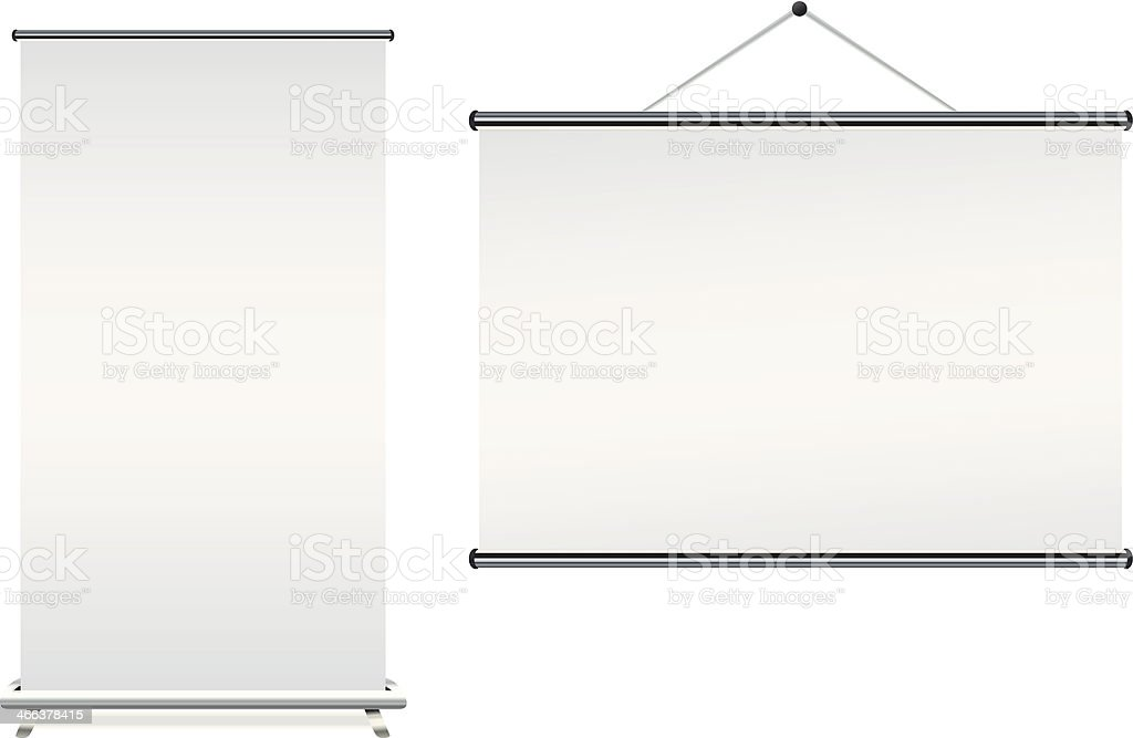 Blank roll up banner displays on a white background vector art illustration