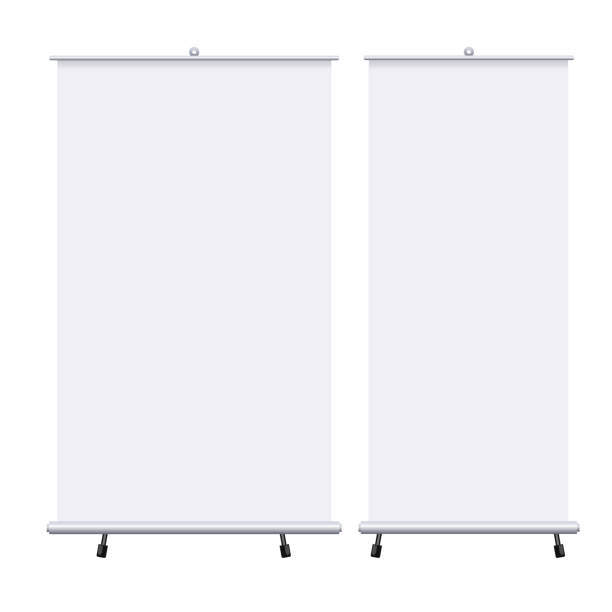 Blank roll up banners set isolated on the white background. Design template blank pop up banner for presentation, corporate training and briefing. Vector mockup. Blank roll up banners set isolated on the white background. Design template blank pop up banner for presentation, corporate training and briefing. Vector mockup projection screen stock illustrations