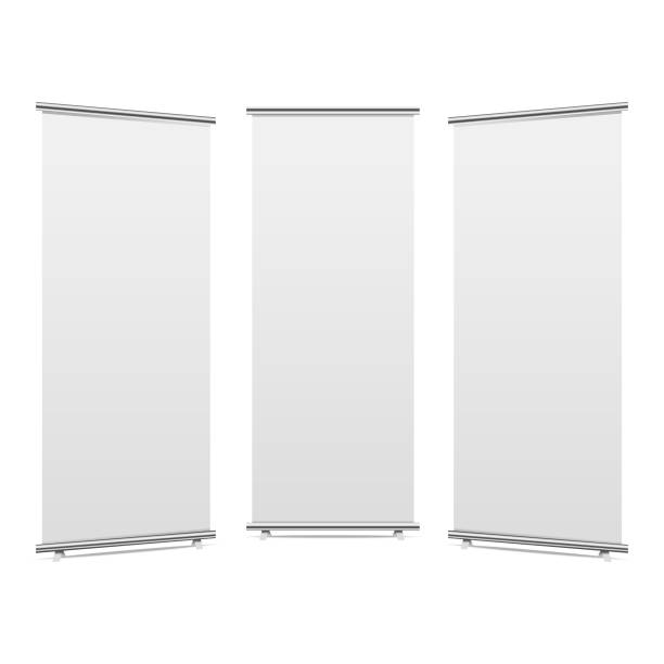 blank roll-up banner display, isolated with clipping path. vector. - standing stock illustrations