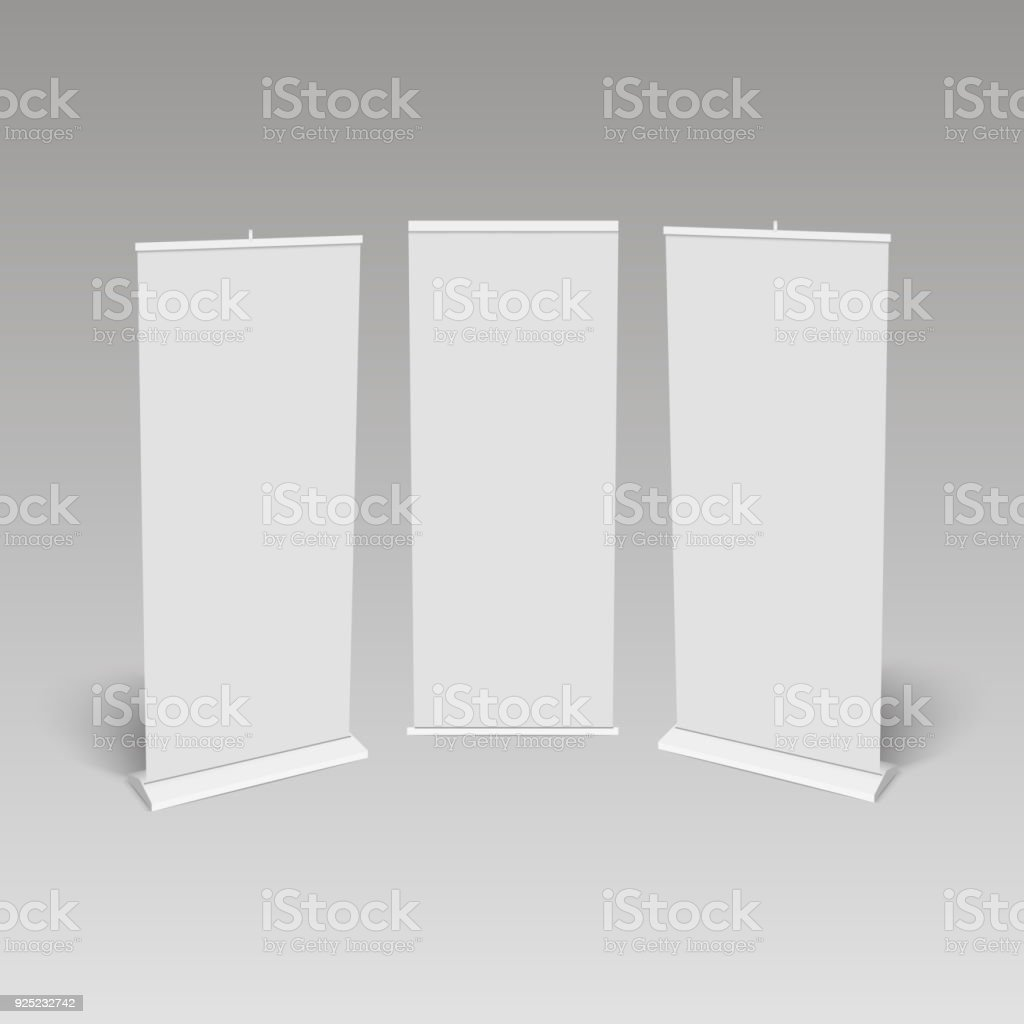 Blank roll-up banner display, isolated with clipping path. Vector vector art illustration