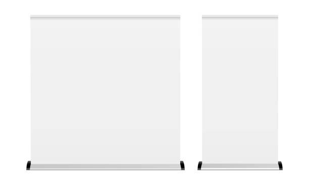 leere rollup-banner isoliert auf weißem hintergrund - breit stock-grafiken, -clipart, -cartoons und -symbole