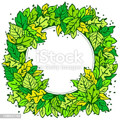 Blank round frame - abstract leaf wreath background