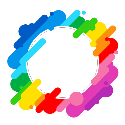 Blank round frame - abstract rainbow background