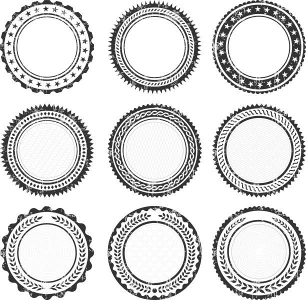 Blank Round Insignia promotional Badges Grunge Texture Round Badges on Black and White Grunge Texture. The illustration features black vector icons on white background. App icons are elegant in design and have a modern graphic look and feel. Each icon is silhouetted and can be on it's own or as part of an icon set. pattern stock illustrations