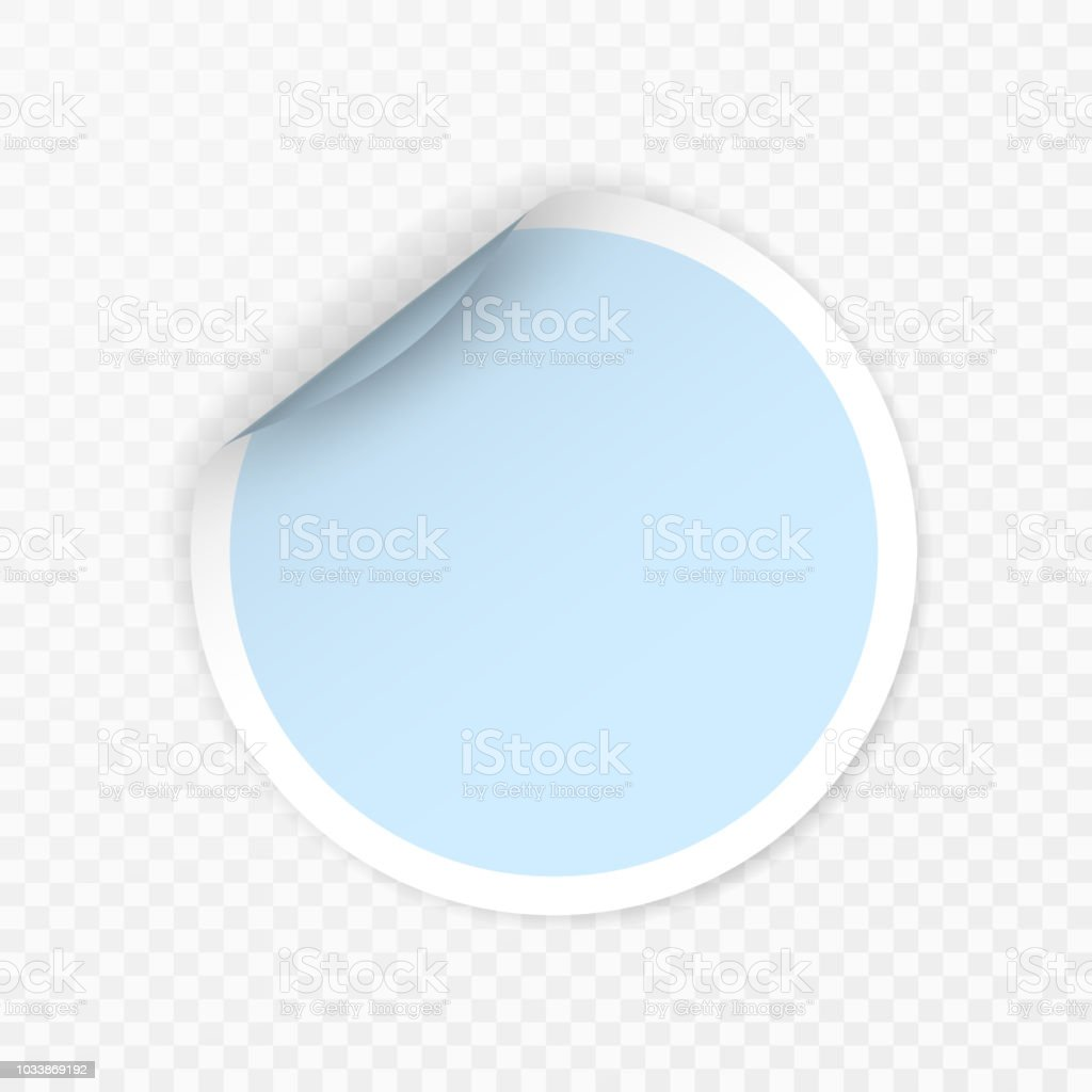 Blank round sticker with curled corners on transparent background realistic mockup illustration