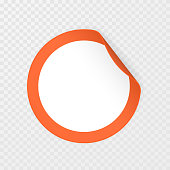 Blank round sticker with curled corners on transparent background, realistic mockup. Vector illustration.