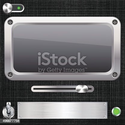 Blank screen with switches. Vector illustration.