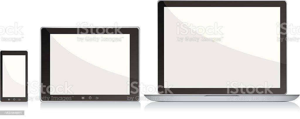Blank écrans ordinateur portable, smartphone et Tablette numérique - Illustration vectorielle