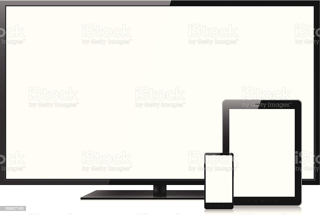 Blank screens on smartphone, tablet pc and television royalty-free stock vector art