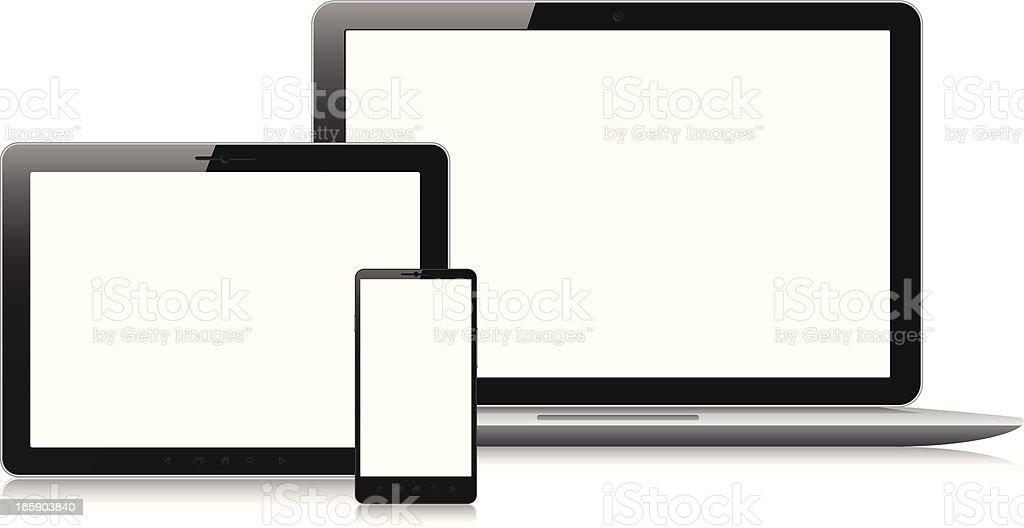 Écrans vides sur divers appareils électroniques - Illustration vectorielle