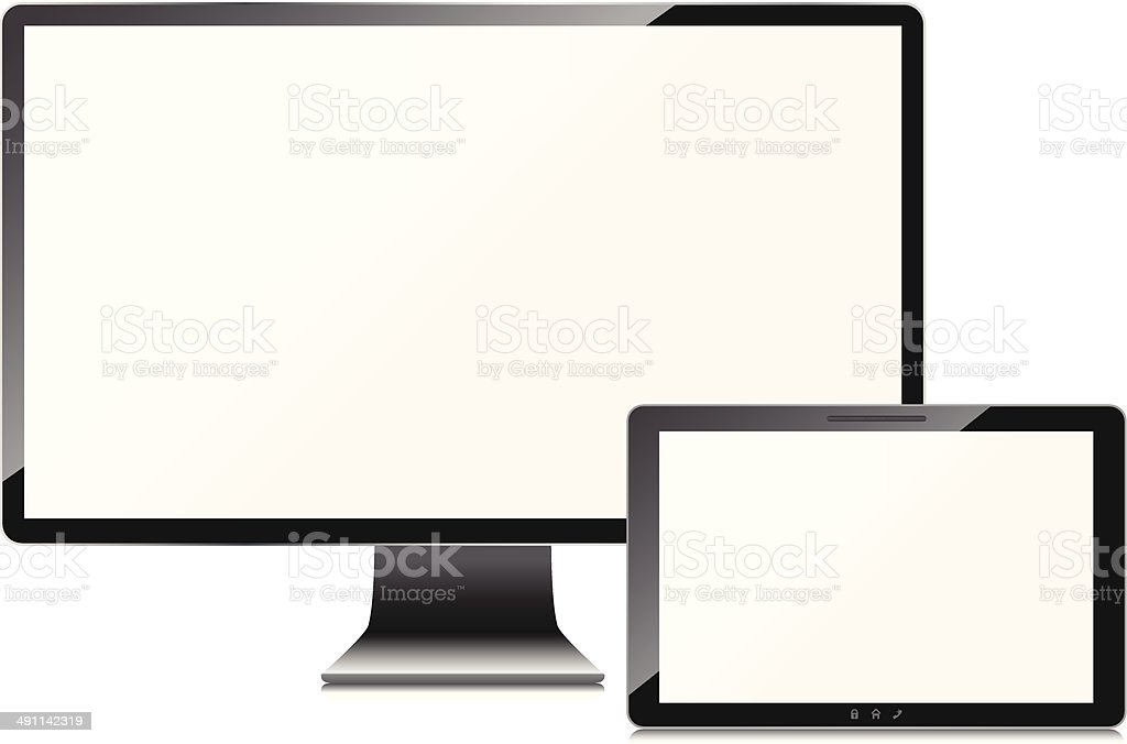 Blank screens set, isolated on white background royalty-free stock vector art