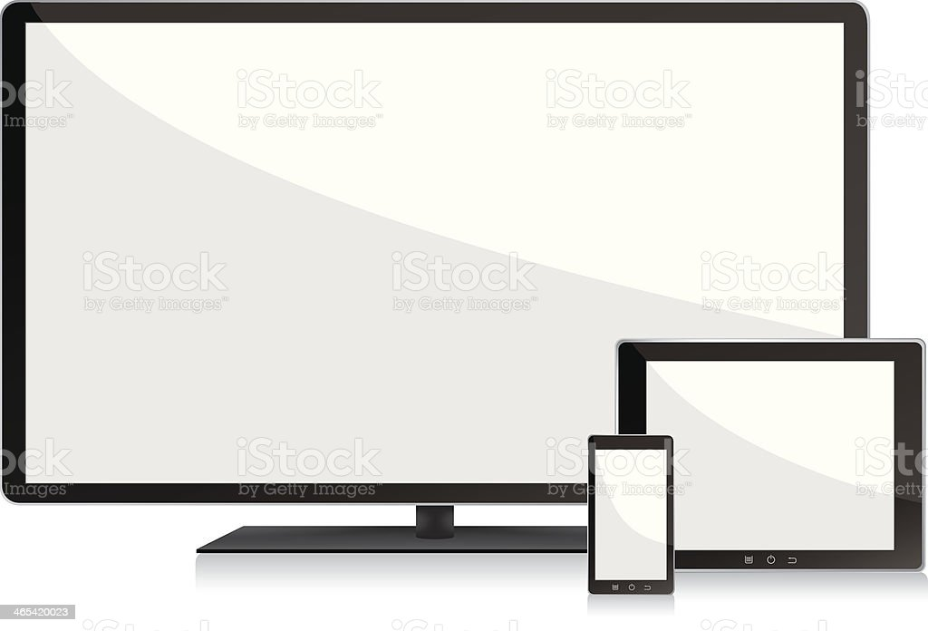 Blank screens television, smartphone and digital tablet pc vector art illustration