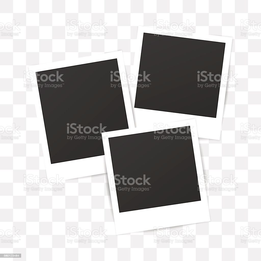 Blank set photo polaroid frame on transparent background. Shadow effect vector art illustration