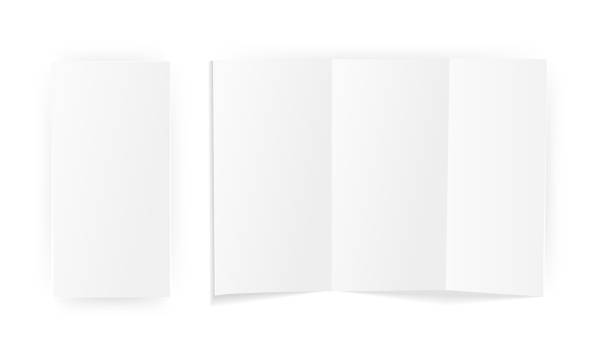 a blank sheet of paper folded . mock up template. isolated on white background. vector illustration - składany stan stock illustrations
