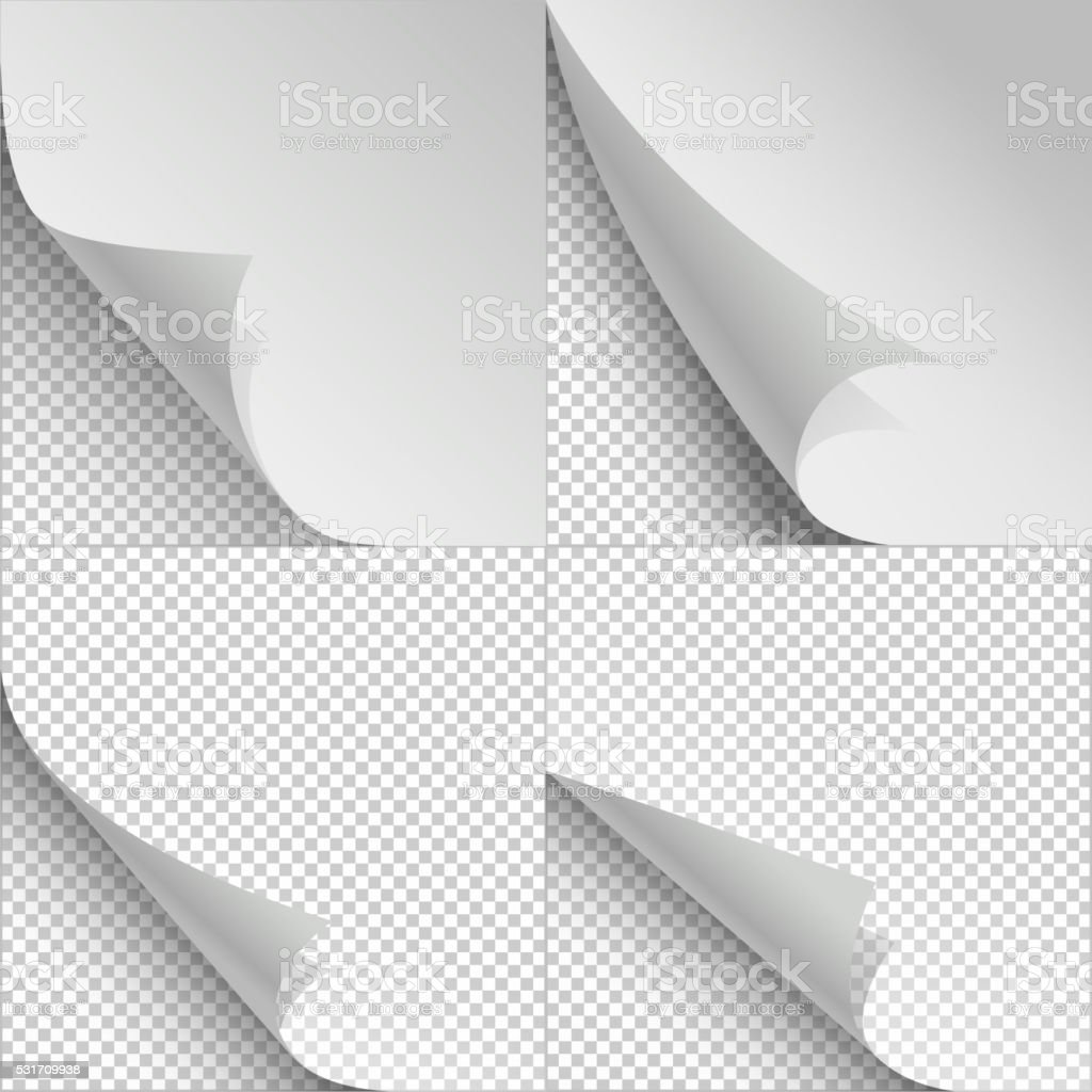 Blank sheets of paper with page curl and shadows vector art illustration