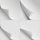 Blank sheets of paper with page curl and shadows